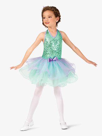Girls Two-Tone Sequin Halter Costume Tutu Dress - Style No GRA120C