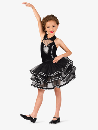 Girls Polka Dot Sequin Halter Costume Tutu Dress - Style No GRA123C