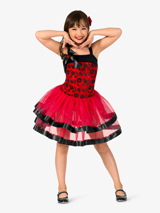 "Girls Performance ""Spanish Rose"" Velvet Tank Tutu Dress - Style No GRA136C"