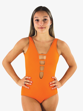 Womens Mandarin Low Strappy Front Tank Leotard - Style No HLVMA