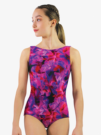 Womens Floral Printed Low Back Tank Leotard - Style No HPLBL
