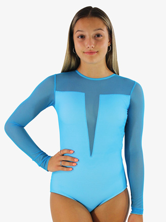 Girls/Womens Plunging Mesh Long Sleeve Leotard - Style No HSB