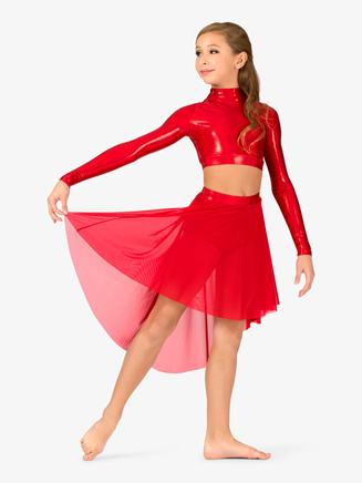 Girls Iridescent Metallic High-Low Performance Skirt - Style No ING136C