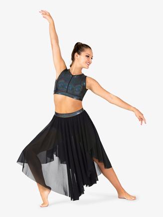 Womens Iridescent Metallic Waistband Mesh Performance Skirt - Style No ING138
