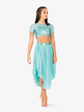 Womens Iridescent Metallic Performance Asymmetrical Mesh Skirt - Style No ING149