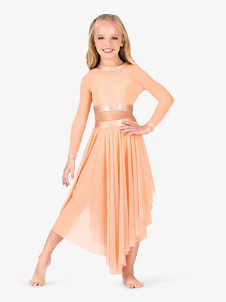 Girls Iridescent Metallic Performance Asymmetrical Mesh Skirt - Style No ING149C