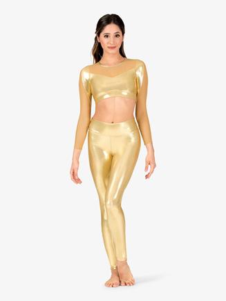 Womens Performance Metallic Full-Length Leggings - Style No ING167x