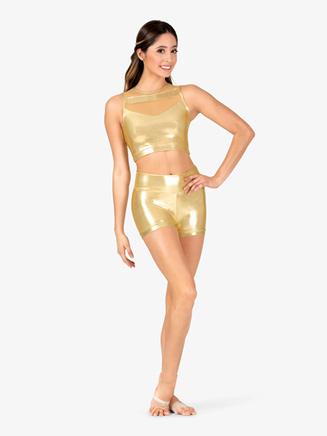 Womens Performance Metallic High Waist Shorts - Style No ING169x