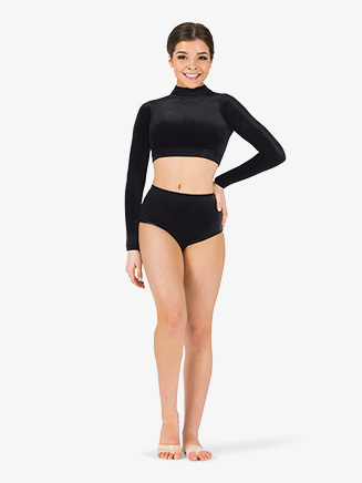 Womens Velvet Mock Neck Dance Crop Top - Style No ING210