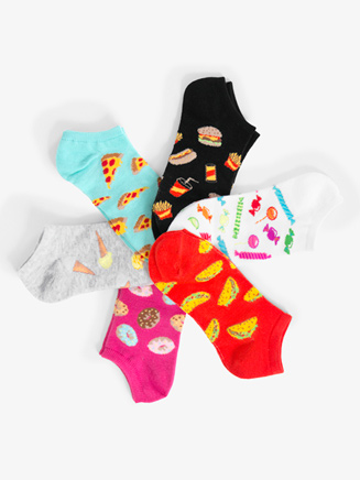 Womens Low Cut Food Graphic Print Dance Socks - Style No KBWS17C040