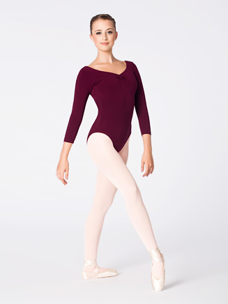 Adult 3/4 Sleeve V-Front Dance Leotard - Style No L5436