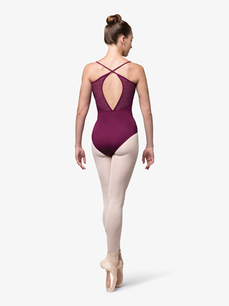 Womens Mesh Insert Crisscross Back Camisole Leotard - Style No L9897