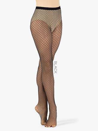 Womens Dual Plaid Footed Fishnet Dance Tights - Style No LA9978