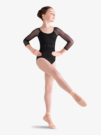 Girls Embroidered Floral Mesh 3/4 Sleeve Leotard - Style No M111Cx