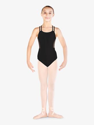 Girls Rhinestone Mesh Dual Camisole Leotard - Style No M1213C