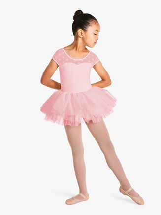 Girls Sweetheart Polka Dot Mesh Short Sleeve Tutu Dress - Style No M1508C