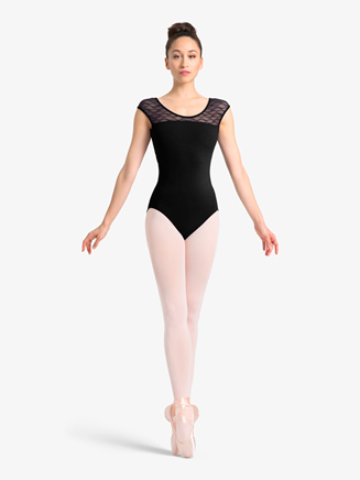 Womens Wavy Mesh Keyhole Cap Sleeve Leotard - Style No M5059LM
