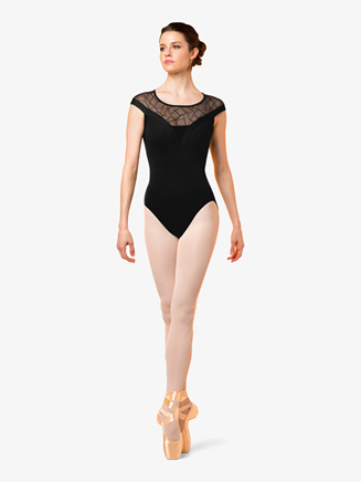 Womens Geometric Mesh Short Sleeve Leotard - Style No M5069LM