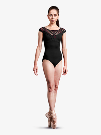 Womens Caged Laser Cut Mesh Cap Sleeve Leotard - Style No MJ7207