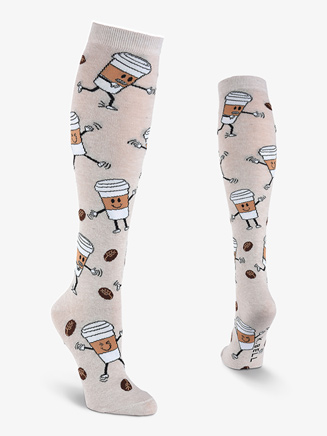 "Womens ""Coffee Break"" Graphic Print Knee High Socks - Style No N050"