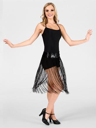 Adult Black Fringe Skirt/Overdress - Style No N7015BLK