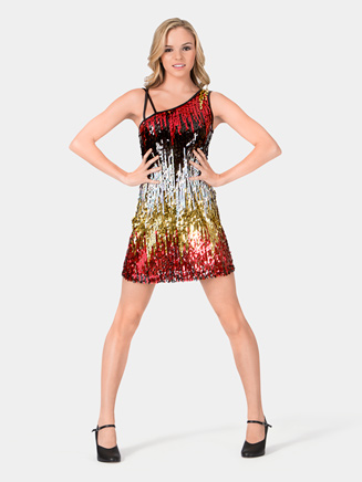 Adult Sequin Dress with One Shoulder - Style No N7040