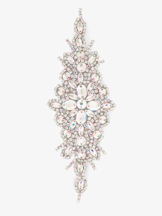 Iron On AB Crystal Rhinestone Applique - Style No N708