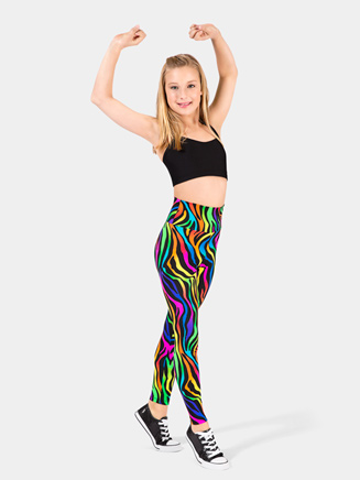 Girls Neon High Waist Zebra Legging - Style No N7134C