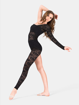 Adult Lace Long Sleeve Asymmetrical Unitard - Style No N7165