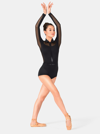 Adult Pleather Collared Shorty Unitard - Style No N7201