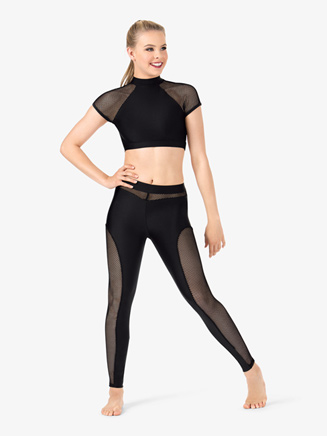 Womens Mesh Panel Dance Leggings - Style No N7219
