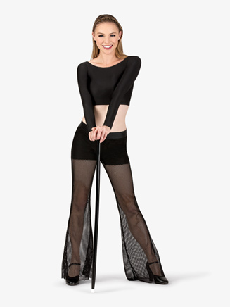Womens Mesh Dance Wide Leg Pants - Style No N7284