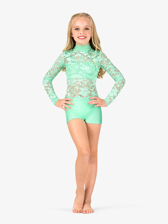 Child Lace Long Sleeve Emballe Short Unitard - Style No N7340C