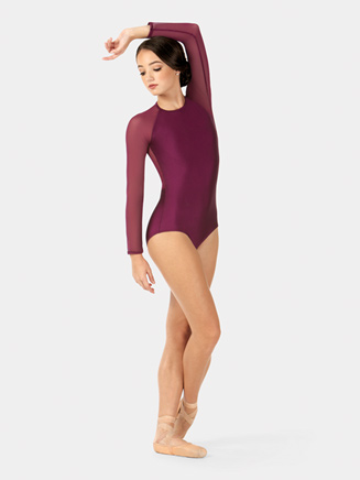 Adult Emballe Mesh Long Sleeve High Neck Leotard - Style No N7396