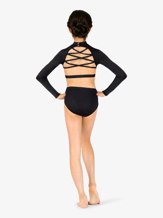 Girls Mock Neck Crisscross Back Dance Bra Top - Style No N7531C