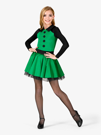 Girls Performance Collared Long Sleeve Tutu Dress - Style No N7570C