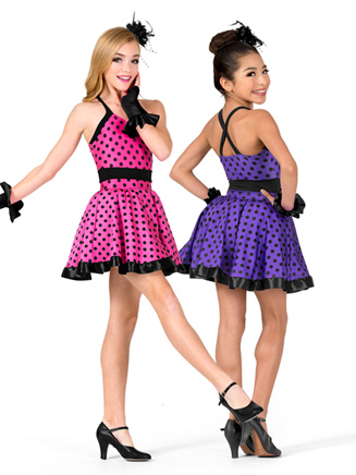 Girls Performance Polka Dot Two-Tone Dress - Style No N7571C