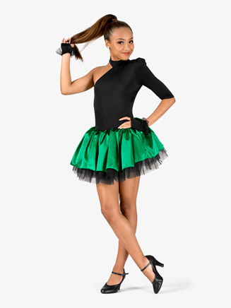 Womens Performance Contrast Satin Asymmetrical Tutu Dress - Style No N7572