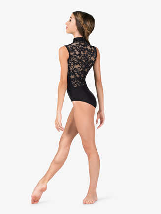 Womens Lace Back High Neck Tank Ballet Leotard - Style No N7642