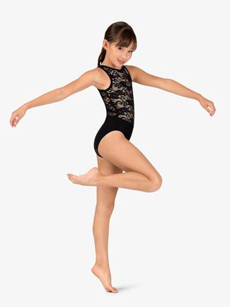 Girls Lace Overlay Tank Ballet Leotard - Style No N7645C