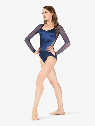 Womens Performance Satin Open Back Long Sleeve Leotard - Style No N7681