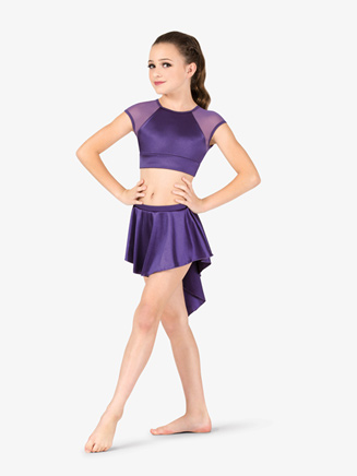 Womens Performance Satin Short High-Low Skirt - Style No N7683C