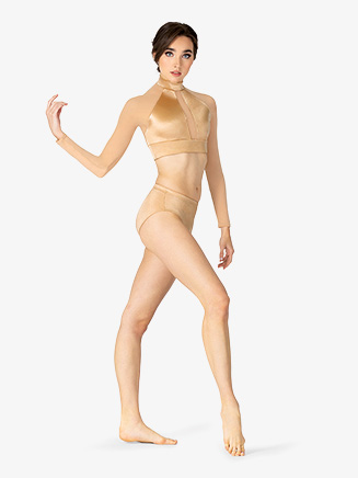 Womens Performance Satin Long Sleeve Crop Top - Style No N7695