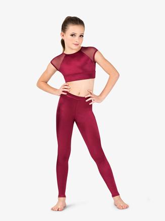 Girls Performance Satin Open Back Cap Sleeve Crop Top - Style No N7696C