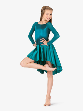 Girls Performance Satin Open Back Long Sleeve Dress - Style No N7697C