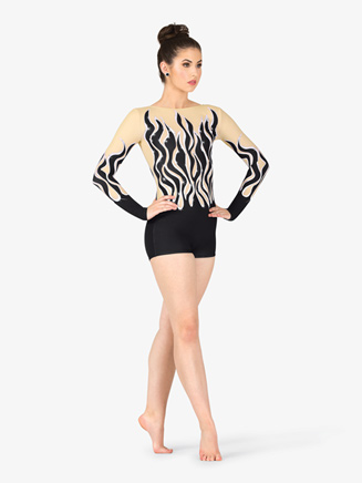 Womens Performance Sequined Flames Printed Shorty Unitard - Style No N7742