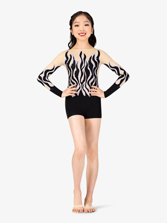 Girls Performance Sequined Flames Printed Shorty Unitard - Style No N7742C
