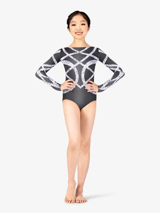 Girls Performance Geo Sparkle Long Sleeve Printed Leotard - Style No N7745C