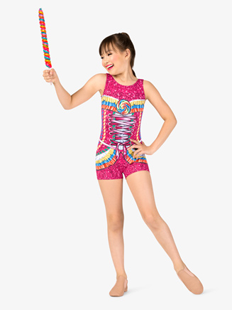 "Girls Performance ""Candy Princess"" Printed Shorty Unitard - Style No N7748C"