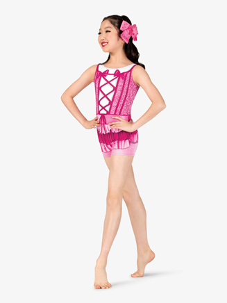 "Girls Performance ""Princess"" Tank Printed Shorty Unitard - Style No N7749C"